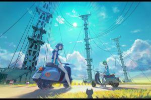 sky numbers outdoors women outdoors anime girls eureka (character) vehicle anime