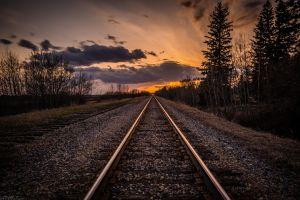 sky railway landscape railroad track