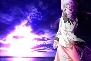 sky red eyes anime anime girls purple hair clouds
