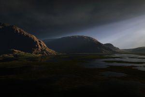 sky rock nature landscape dark