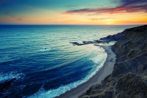 sky rock sunset horizon coast nature sea
