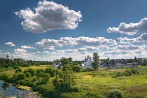 sky russia grass clouds