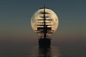 sky ship sea vehicle horizon night moon