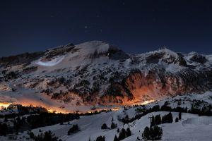 sky snow night lights mountains landscape winter