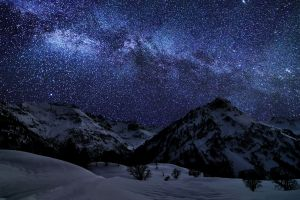 sky stars space mountains starry night landscape nature snow