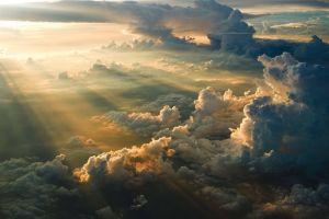 sky sun sun rays aerial view clouds sunlight nature