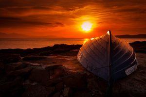 sky sunlight boat red sun beach