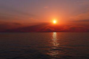 sky sunlight sea horizon clouds sunset nature