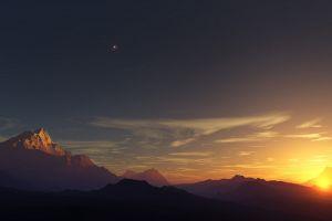 sky sunset nature sunlight mountains landscape