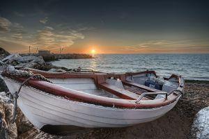 sky sunset sea boat nature