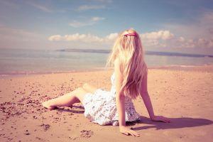 sky women outdoors long hair dress blonde beach sea women