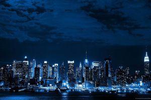 skyline blue lights digital art night sky