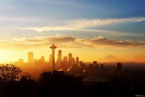 skyline cityscape seattle space needle