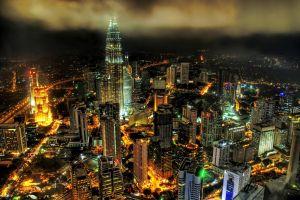 skyscraper cityscape night hdr kuala lumpur