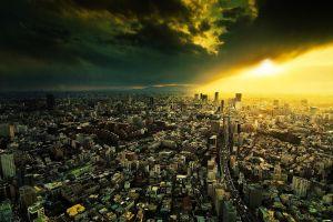 skyscraper clouds japan tokyo