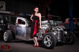 smiling lucky devil women with cars car hot rod redhead dress women open-toed shoes model old car