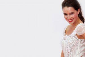 smiling model actress women white background emilia clarke