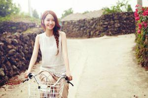 smiling road women bicycle model asian women outdoors