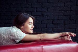 smiling wall women brunette profile