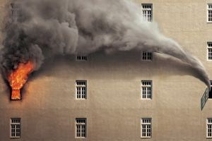 smoke artwork fire digital art beige house