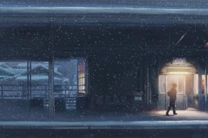 snow anime night snowing 5 centimeters per second train station makoto shinkai