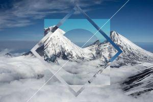 snow digital art polyscape mountains