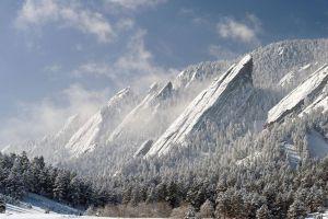 snow nature flatirons boulder winter clouds forest mountains landscape colorado