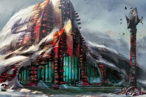 snow video games fantasy art guild wars 2 artwork concept art tower building digital art