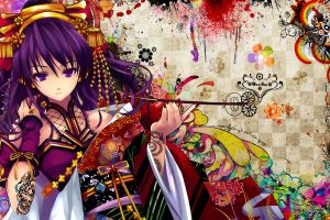 snyp yukata traditional clothing beatmania anime girls purple hair anime colorful manga