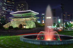 south korea city cityscape night