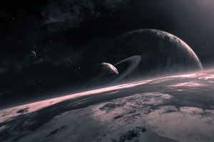 space art planet qauz space planetary rings digital art