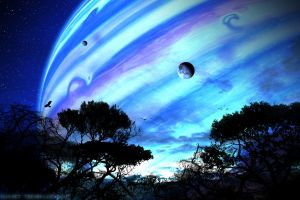 space avatar digital art trees planet