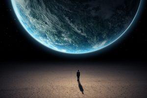 space men planet digital art space art world