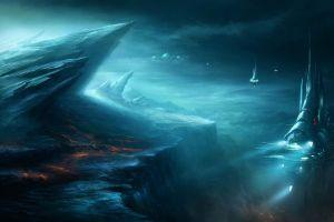 spaceship artwork lava science fiction