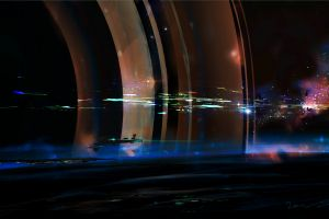 spaceship digital art fantasy art planet artwork planetary rings concept art space