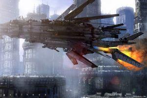 spaceship futuristic futuristic city artwork
