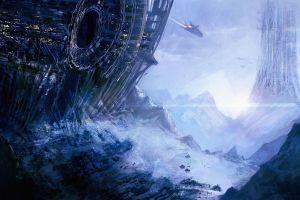 spaceship space concept art planet artwork