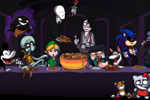 spaghetti minecraft parody slender man video games ghast hello kitty sonic the hedgehog mickey mouse halloween video game characters link steve the last supper