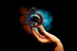 sphere butterfly hands digital art