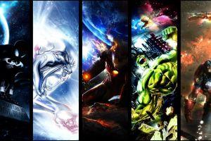 spider-man venom captain america hulk collage panels silver surfer