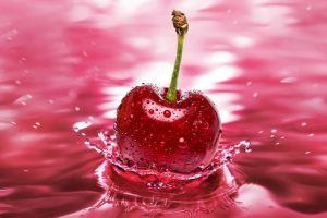 splashes water cherries (food) digital art