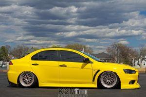 stance mitsubishi car vehicle mitsubishi lancer evo x yellow cars