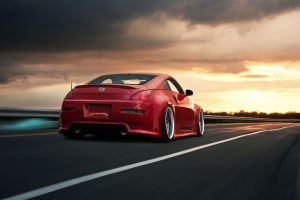 stance nissan 350z car red cars