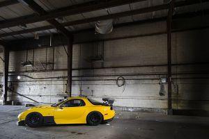 stance rx-7 mazda car jdm yellow cars
