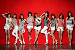 standing musician asian smiling korean model looking at viewer girls' generation group of women snsd k-pop