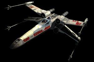 star wars movies black background x-wing digital art space render