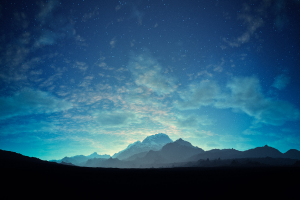 starry night mountains landscape clouds stars nature blue cyan