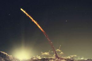 starry night space art sky rocket stars digital art space