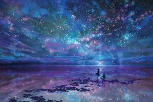 stars clouds anime couple