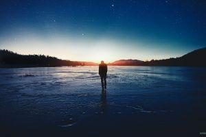 stars people landscape men night sky lake ice